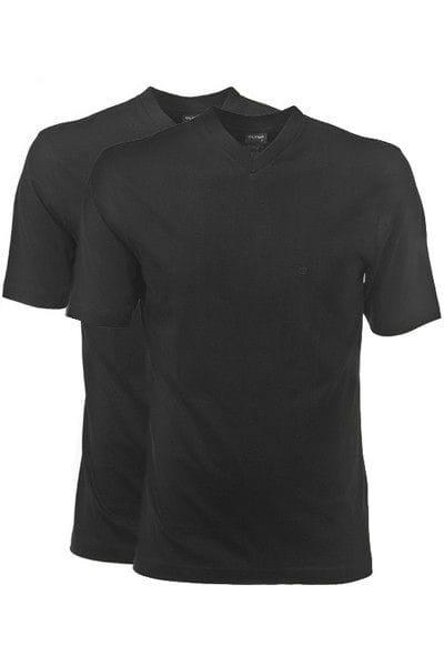 Olymp T-Shirt - V-Ausschnitt - schwarz, Einfarbig