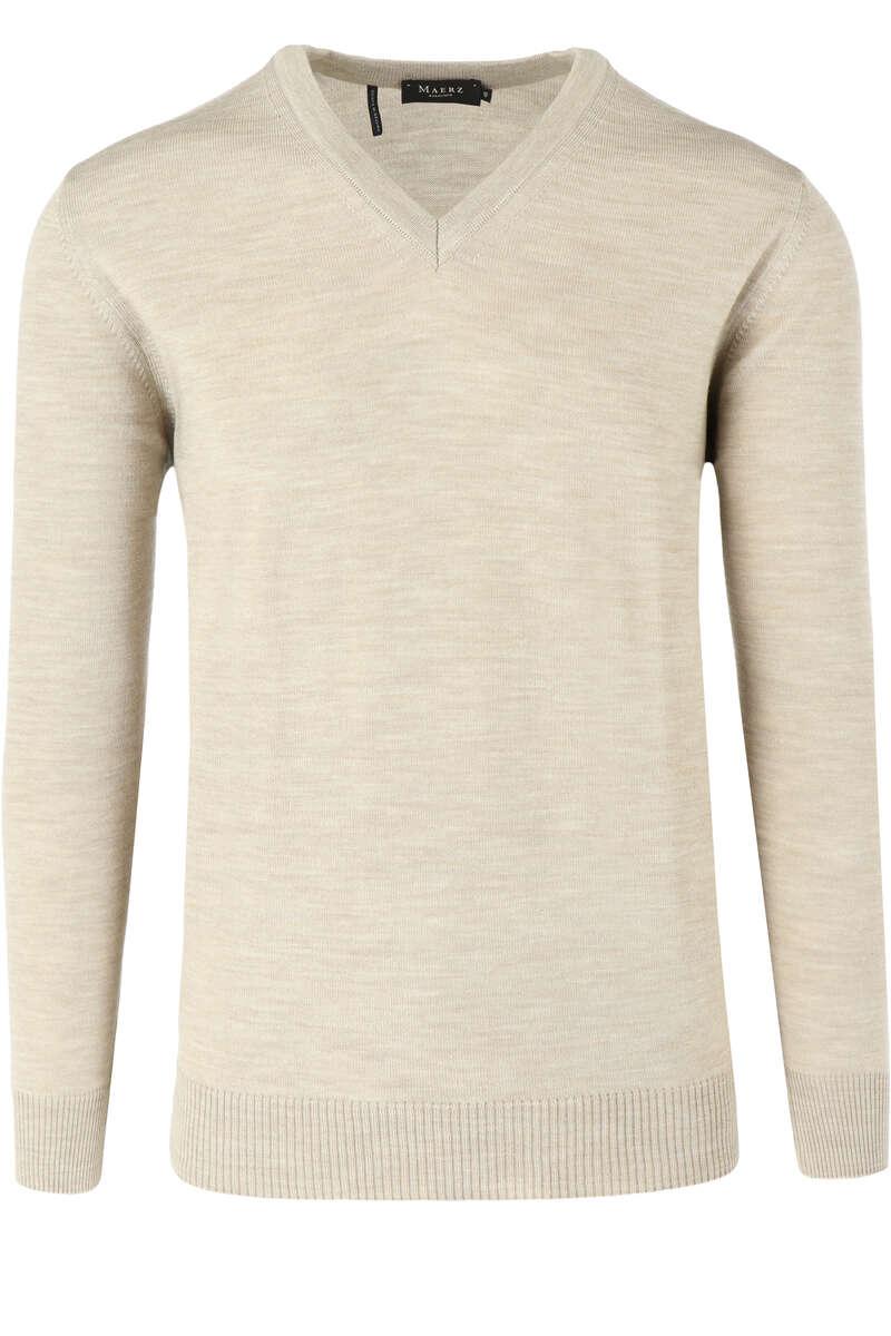 MAERZ Classic Fit Pullover V-Ausschnitt beige, einfarbig 48