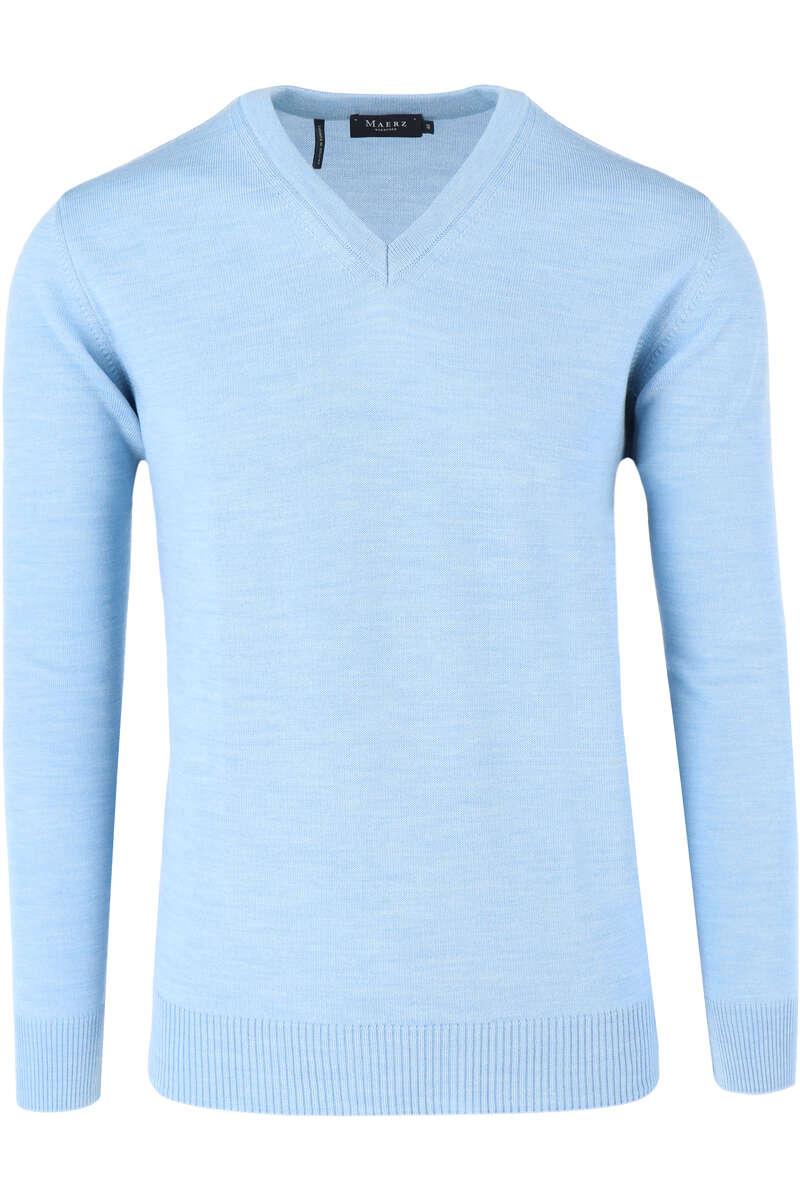 MAERZ Classic Fit Pullover V-Ausschnitt eisblau, einfarbig 48