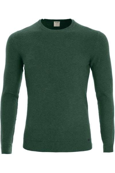 OLYMP Level Five Body Fit Strickpullover Rundhals lindgrün, einfarbig