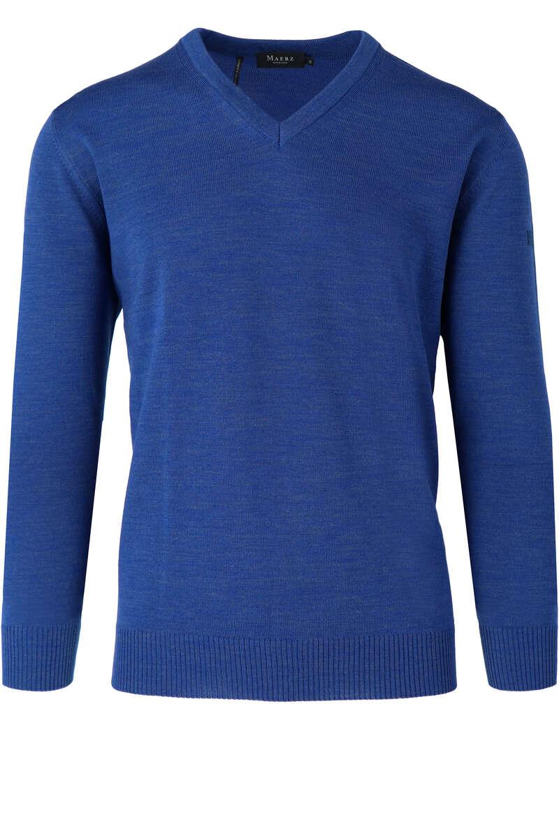 Maerz Classic Fit Pullover V-Ausschnitt mittelblau, einfarbig 48 - 3XL