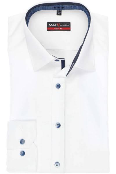 Marvelis Body Fit Hemd weiss, Einfarbig