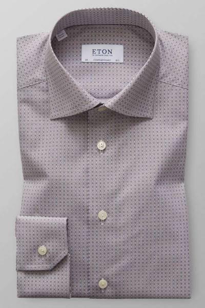 ETON Contemporary Fit Hemd braun/blau, Gemustert