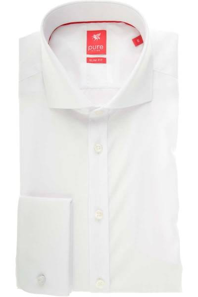 Pure Hemd - Slim Fit - weiss, Einfarbig