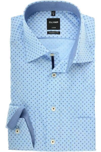 OLYMP Luxor Modern Fit Hemd blau/braun, Gemustert