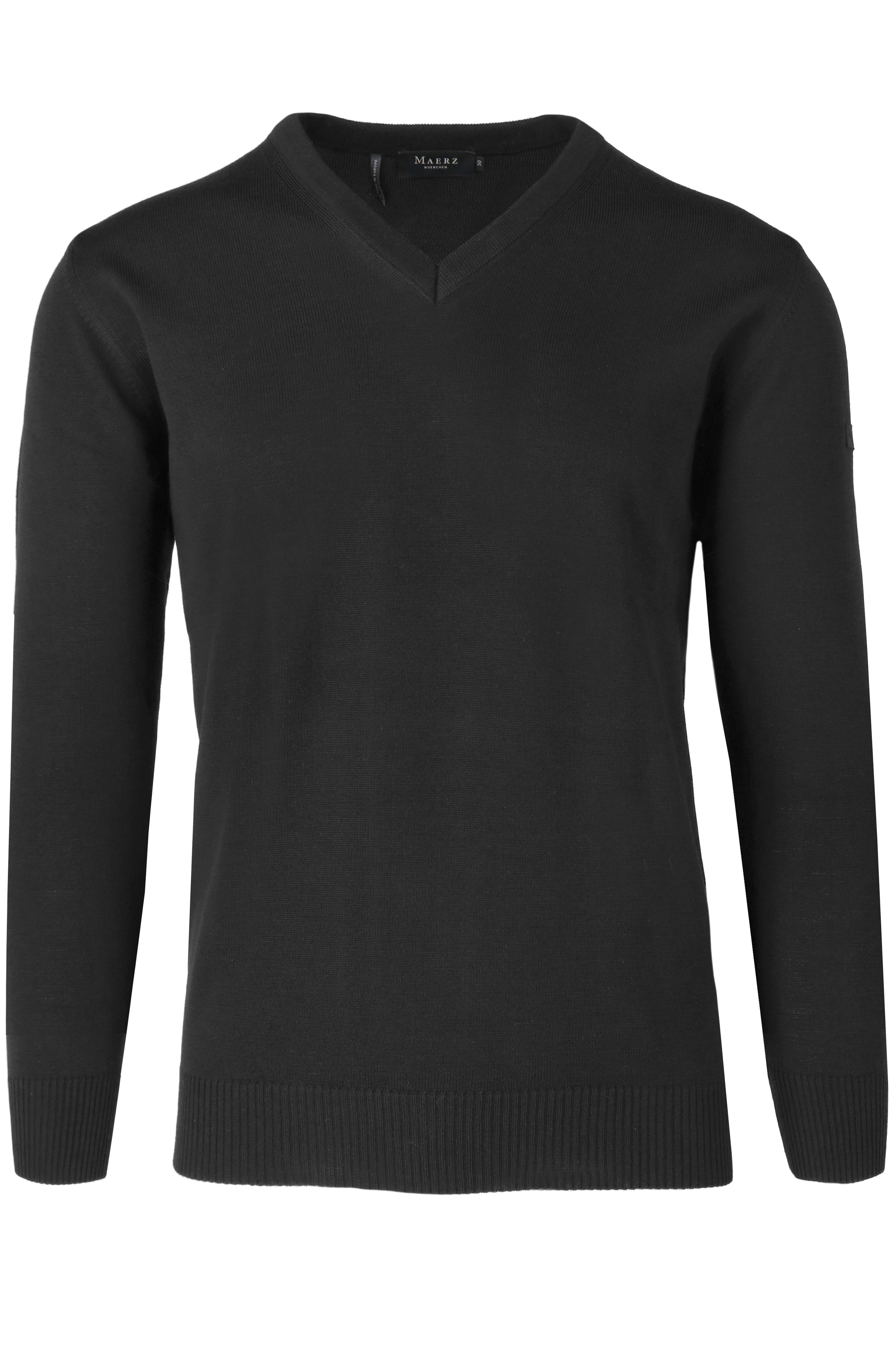 MAERZ Classic Fit Pullover V-Ausschnitt anthrazit, einfarbig 48