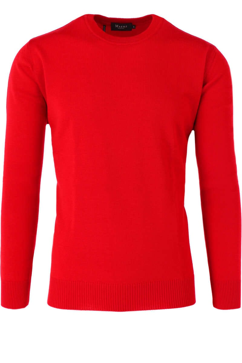 Maerz Casual Classic Fit Pullover Rundhals rot, einfarbig 48