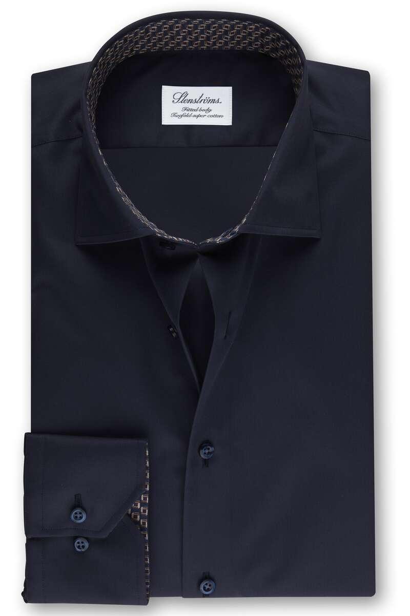 Stenströms Fitted Body Hemd nachtblau, Einfarbig 40 - M