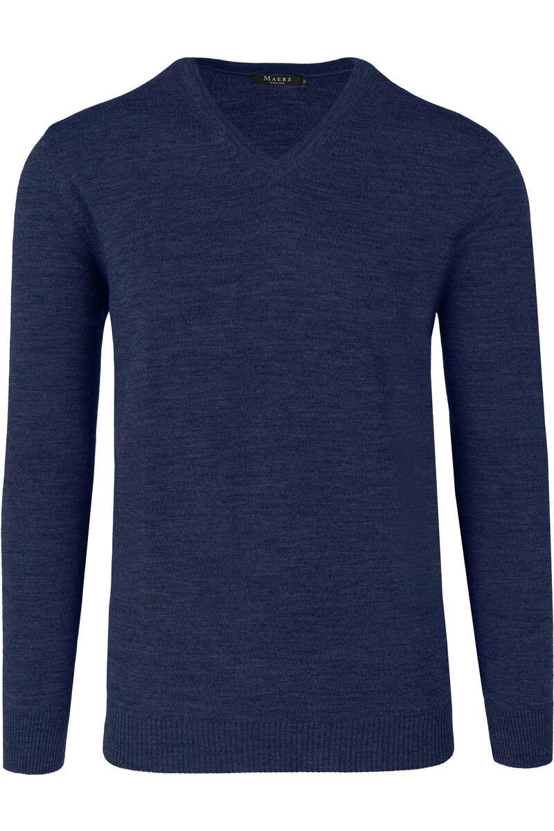 Maerz Modern Fit Pullover V-Ausschnitt blau, einfarbig 52
