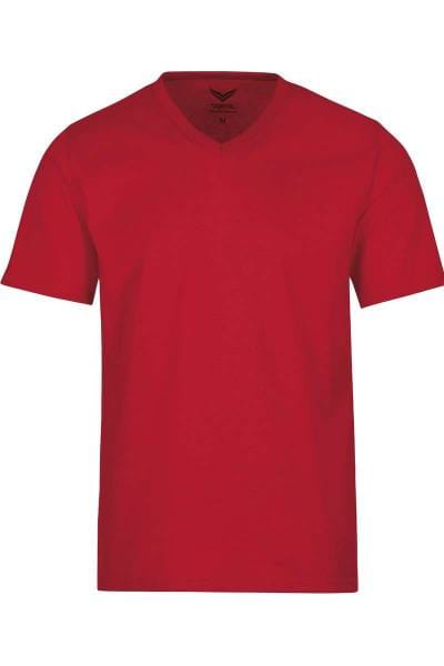 TRIGEMA T-Shirt V-Ausschnitt rot, einfarbig