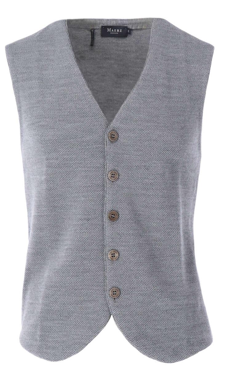 Maerz Classic Fit Weste V-Ausschnitt grau, einfarbig 48