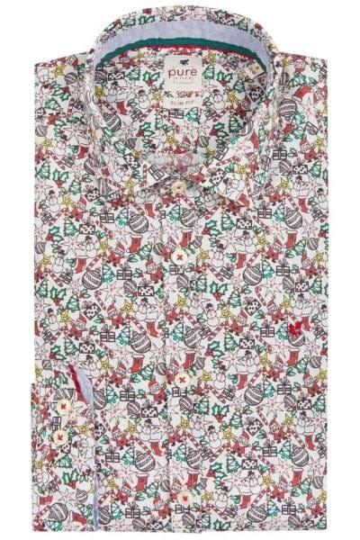Pure Slim Fit Hemd mittelblau, Gemustert