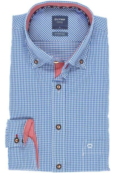 OLYMP Casual Modern Fit Trachtenhemd marine/weiss, Kariert