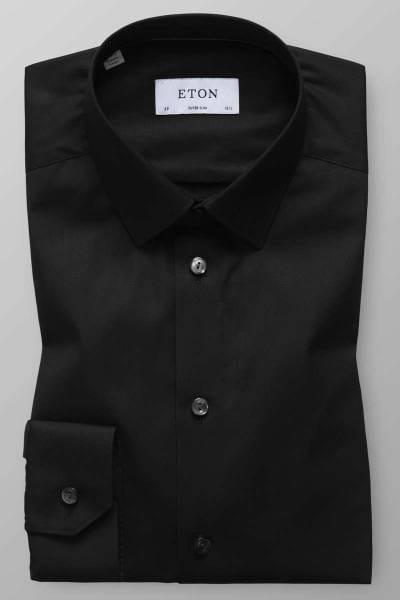 Eton Super Slim Hemd schwarz, Einfarbig