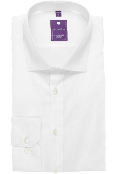 Redmond Slim Fit Hemd weiss, Einfarbig