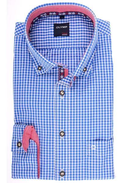 OLYMP Modern Fit Trachtenhemd blau/weiss, Kariert