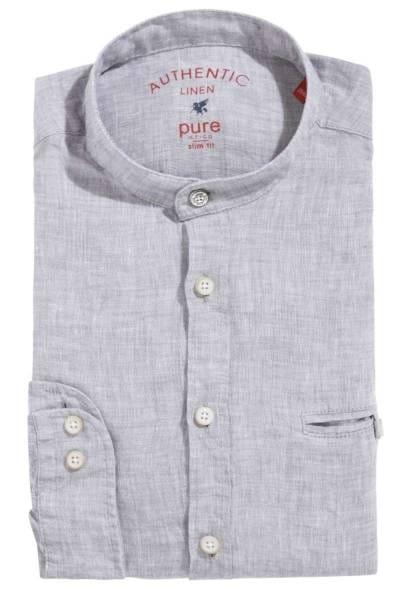 Pure Slim Fit Leinenhemd grau, Einfarbig