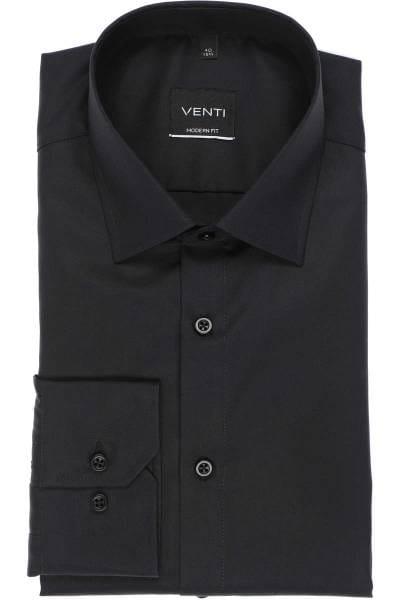 Venti Hemd - Modern Fit - schwarz, Einfarbig