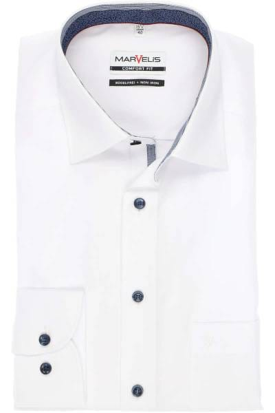 Marvelis Comfort Fit Hemd weiss, Einfarbig
