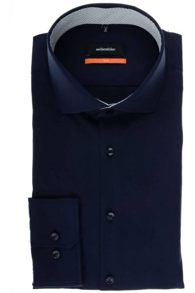 Seidensticker Slim Fit Hemd dunkelblau, Einfarbig