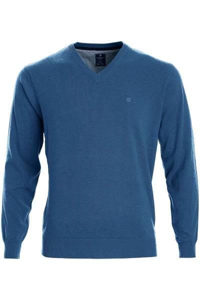 Redmond Strickpullover V-Ausschnitt blau, einfarbig