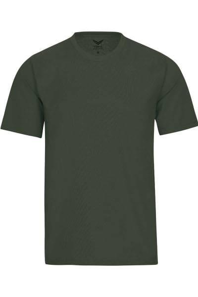 TRIGEMA T-Shirt Rundhals oliv, einfarbig