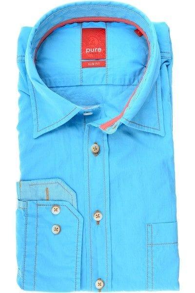 Pure Hemd - Slim Fit - blau, Einfarbig