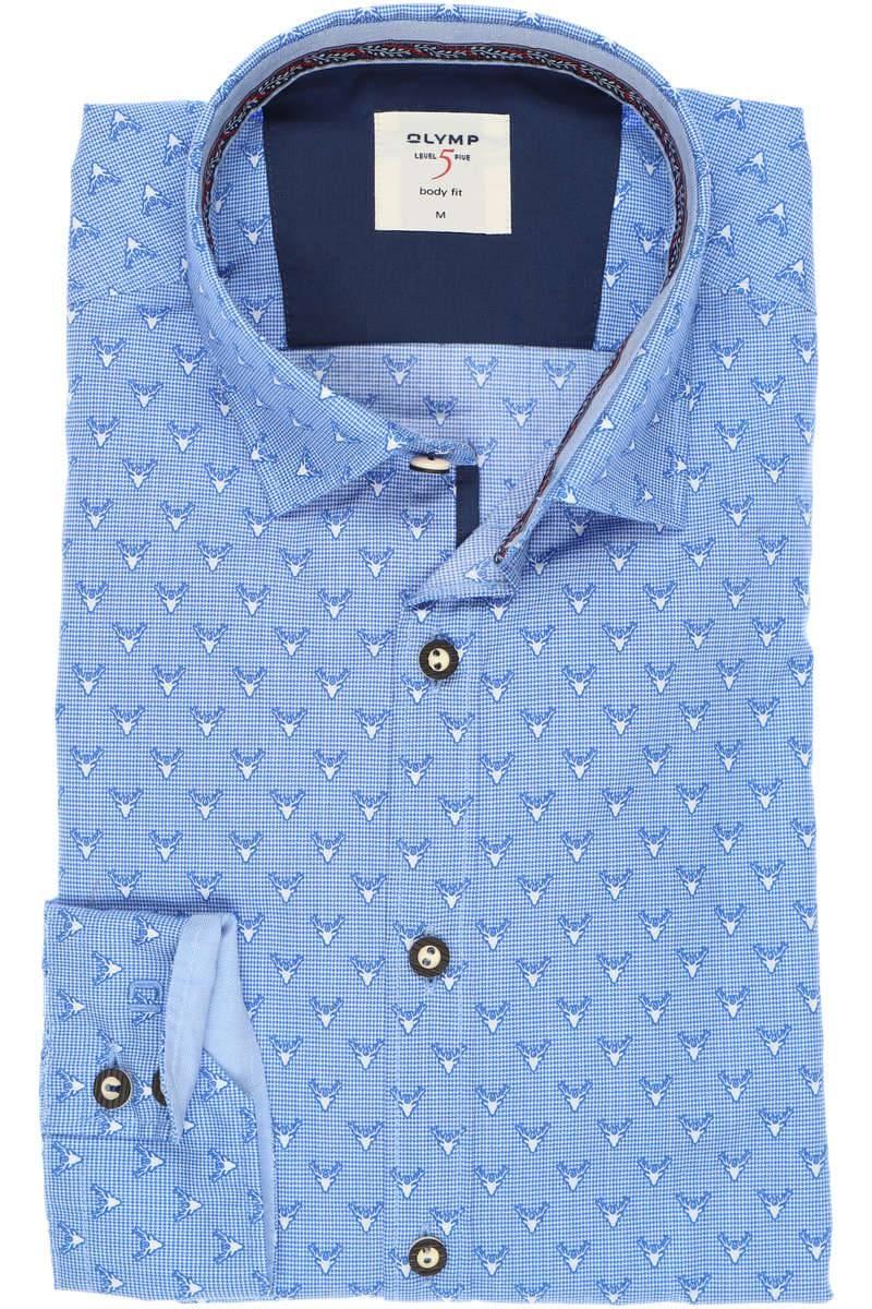 OLYMP Level Five Casual Body Fit Trachtenhemd blau/weiss, Gemustert