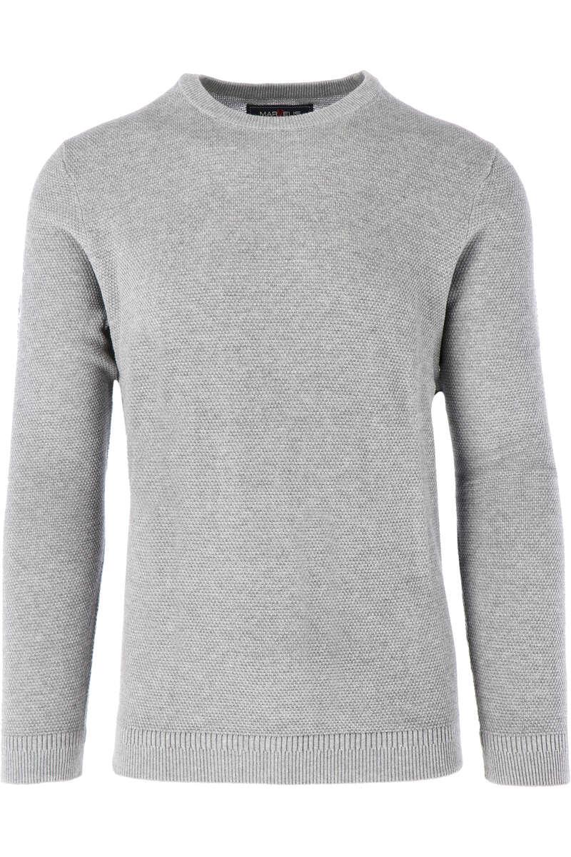 Marvelis Modern Fit Strickpullover Rundhals grau, einfarbig M