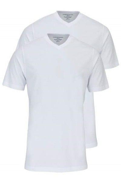 Casa Moda T-Shirt - V-Ausschnitt - weiss, Einfarbig