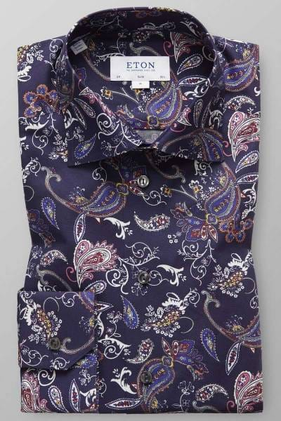 ETON Contemporary Fit Hemd marine/weiss, Paisley