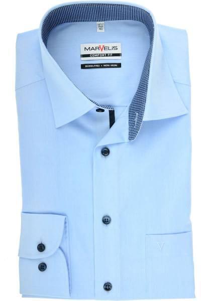 Marvelis Comfort Fit Hemd bleu, Einfarbig