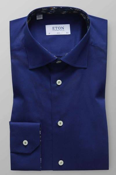 ETON Slim Fit Hemd dunkelblau, Einfarbig