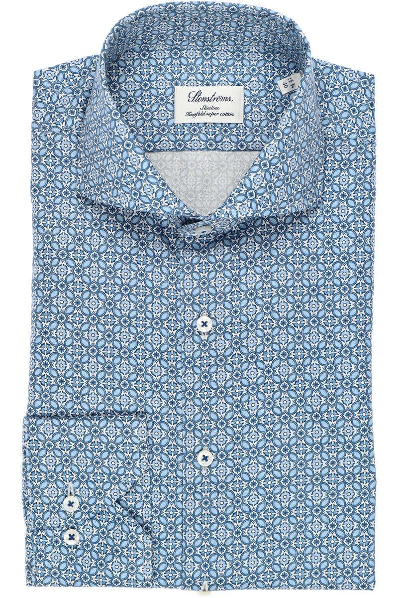 Stenströms Slimline Hemd blau/weiss, Gemustert 43 - XL