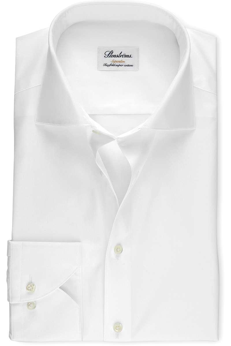 Stenströms Super Slim Hemd weiss, Einfarbig 40 - M