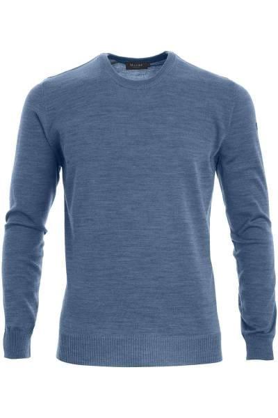 MAERZ Strickpullover Classic Fit Rundhals grau/blau, einfarbig