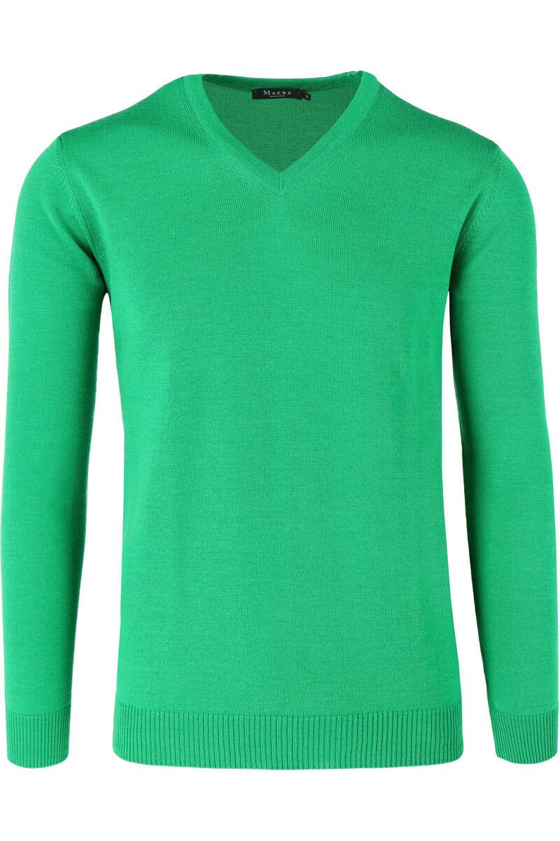 Maerz Modern Fit Pullover V-Ausschnitt grün, einfarbig 50