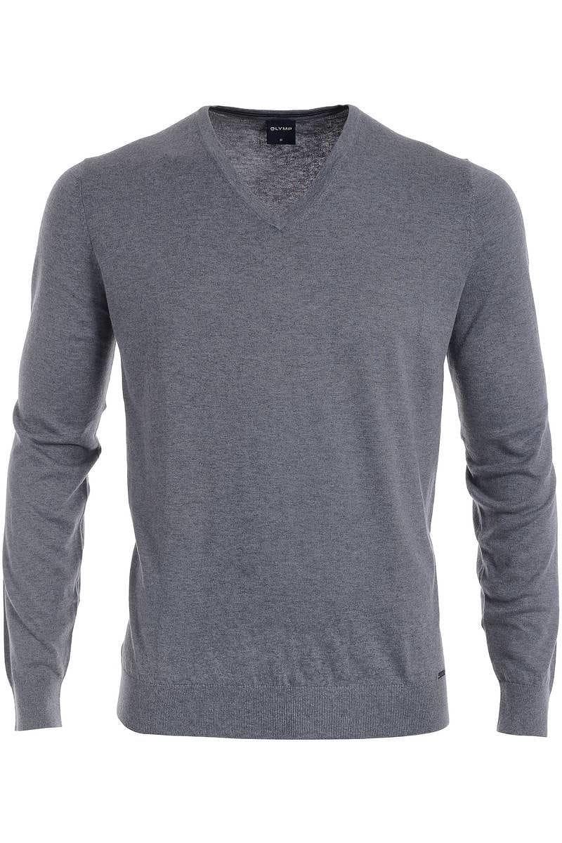 Olymp Strickpullover V-Ausschnitt Pullover - grau