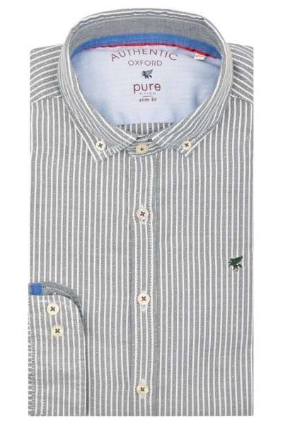 Pure Slim Fit Hemd grün, Gestreift