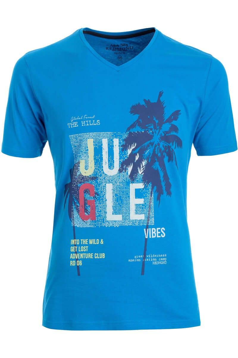 Redmond T-Shirt V-Ausschnitt blau, gemustert L