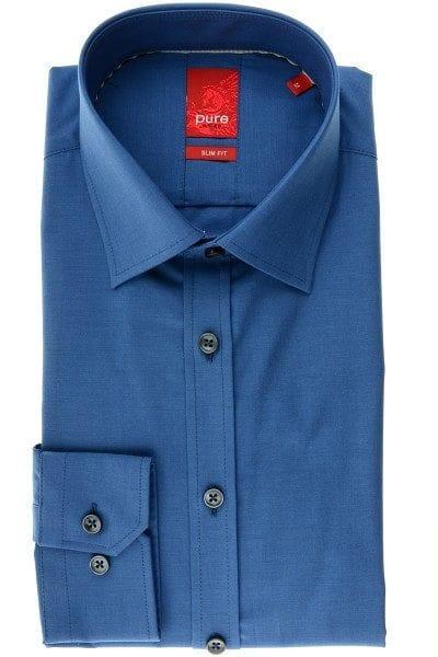 Pure Hemd - Slim Fit - petrol, Einfarbig