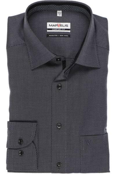 Marvelis Comfort Fit Hemd schwarz/grau, Strukturiert