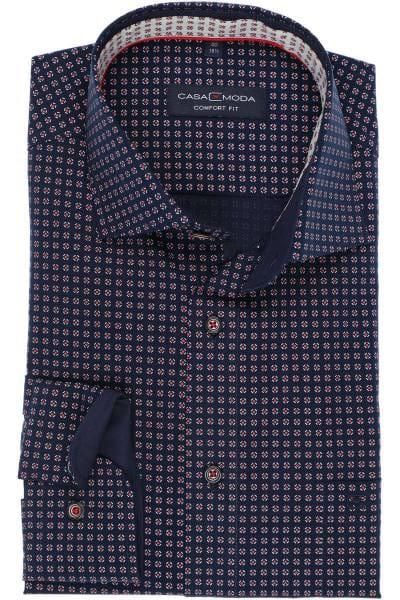 Casa Moda Comfort Fit Hemd blau/rot, Gemustert