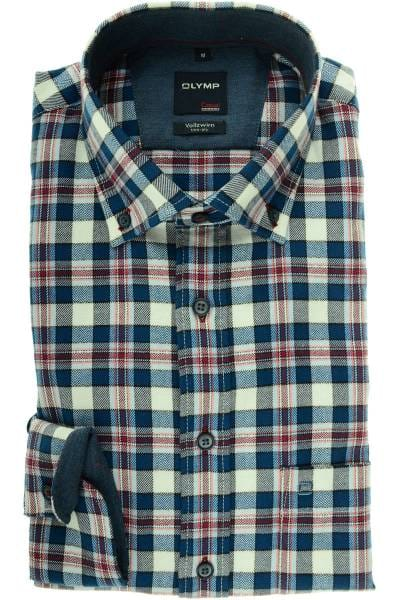 online store 9b75f 9a9e8 OLYMP Casual Modern Fit flannel shirt navy/rot, Chequered
