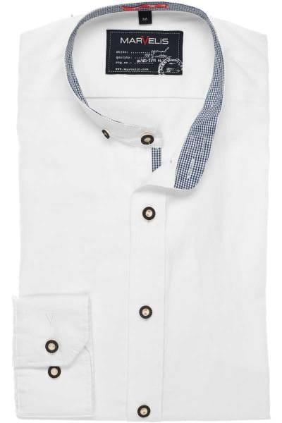 Marvelis Casual Modern Fit Trachtenhemd weiss, Einfarbig