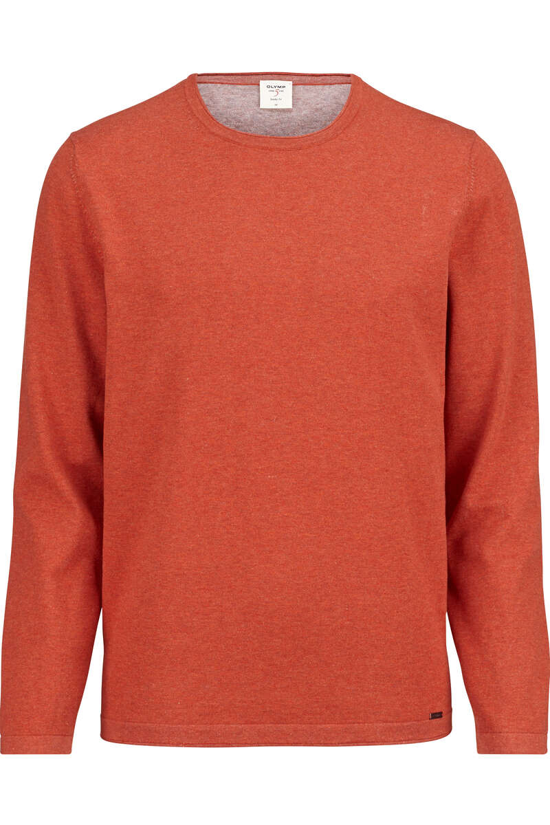 OLYMP Level Five Body Fit Longsleeve Rundhals orange, einfarbig M