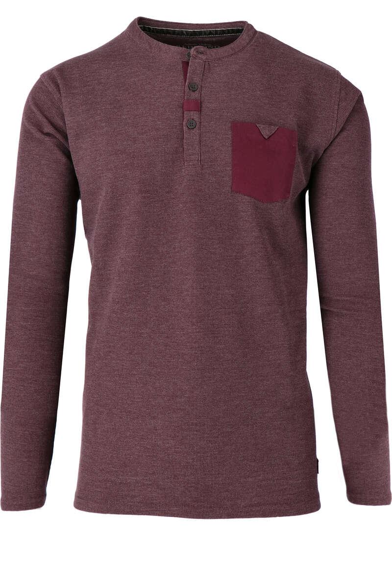 Redmond T-Shirt Henley rot, melange L