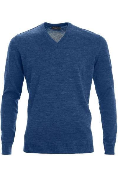 MAERZ Strickpullover Classic Fit V-Ausschnitt blau, einfarbig