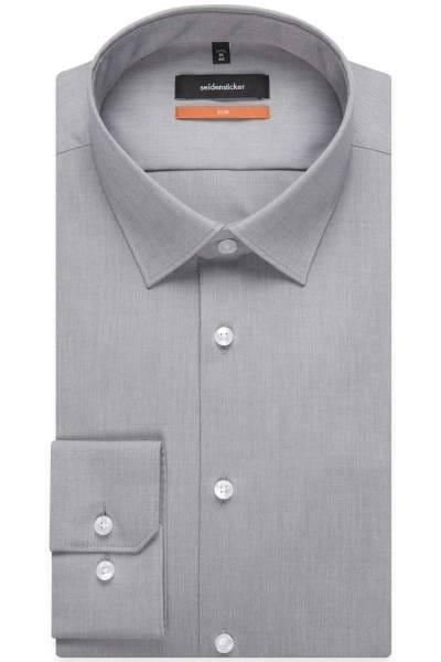 Seidensticker Hemd - Slim Fit - grau, Einfarbig