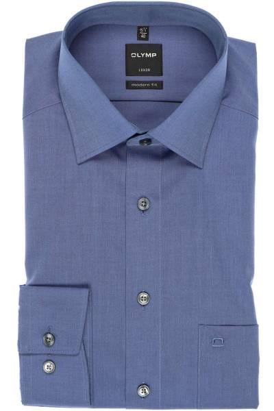Olymp Hemd - Modern Fit - saphierblau, Einfarbig